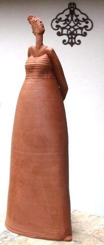 Frau, Ton, Figur, Skulptur