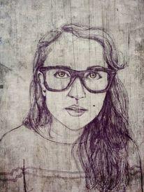 Selbstportrait, Brille, Gesicht, Malerei