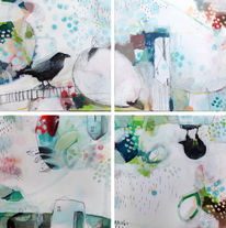 Acrylmalerei, Architektur, Leiter, Erde