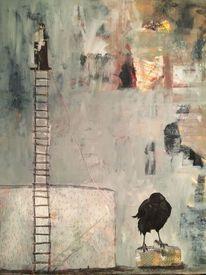 Kohlezeichnung, Krähe, Sklave, Acrylmalerei