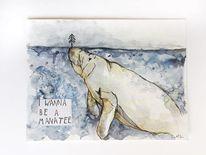 Aquarellmalerei, Ozean, Wassertier, Manatee
