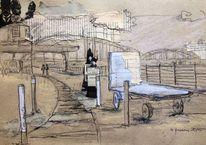 Pastellmalerei, Schwarz, Waggon, Oosten