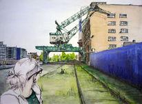 Blick, Industrie, Frankfurt osthafen, Kran