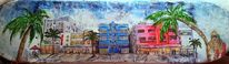 Acrylmalerei, Parade, Ocean drive, Strand