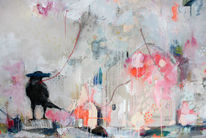 Naive malerei, Krähe, Abstrakt, Rosa