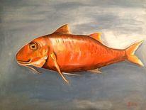 Fisch, Acryl auf leinwand, Schatten, Malerei