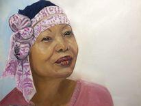 Schatten, Portrait, Ölmalerei, Farbige frau
