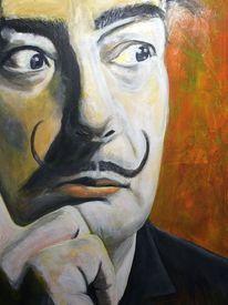 Malen, Portrait, Acrylmalerei, Spachtel