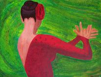 Bewegung, Frau, Acrylmalerei, Malerei