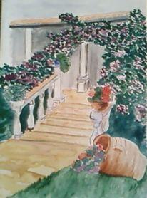 Landschaft, Malerei, Garten, Treppe