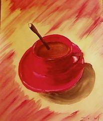 Malerei, Stillleben, Tasse, Rot