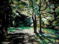 Zeichnung, Licht, Pastellmalerei, Wald