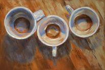 Tisch, Pastellmalerei, Tasse, Küche