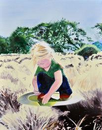 Malerei, Blond, Rand, Surreal