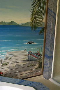 Wandmalerei, Malerei, Steg, See