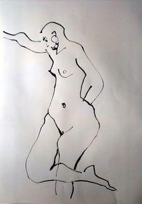 Akt, Linie, Skizze, Tuschmalerei