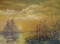 Sommertag, Weiher, Ölmalerei, Malerei