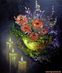 Kerzenschein, Licht, Malerei, Stillleben