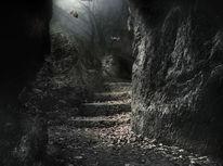 Höhle, Fantasie, Laub, Mystik