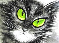 Schwarz weiß, Katze, Comic, Malerei