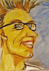 Abstrakt, Portrait, Tusche, Malerei