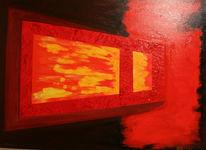 Abstrakt, Fenster, Rot, Wangerooge