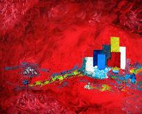 Abstrakt, Rot, Häuser, Wangerooge