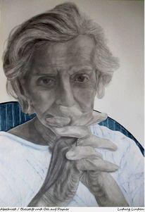 Farben, Bleistiftzeichnung, Mischtechnik, Portrait