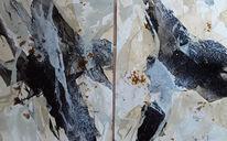 Beige, Abstrakte malerei, Schwarz, Weiß