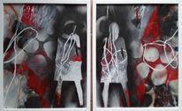 Abstrakte malerei, Rot, Frau, Grau