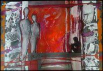 Abstrakte malerei, Eltern, Kind, Menschen