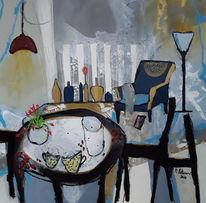 Abstrakte malerei, Stuhl, Vase, Lampe