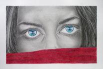 Portraitzeichnung, Gesicht, Bleistiftzeichnung, Buntstiftzeichnung