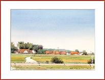 Landschaft, Sommer, Habertshausen, Aquarell