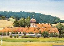 Landschaft, Hohenkammer, Schloss, Aquarell