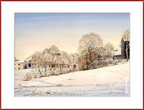 Winter, Schnee, Ortschaft, Aquarell