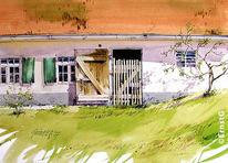 Bauernhof, Frühling, Gebäude, Aquarell