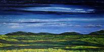Hügel, Wiese, Feld, Malerei