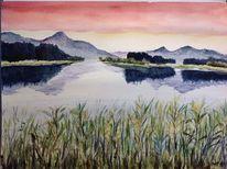 Berge, Forggensee, Abendstimmung, See