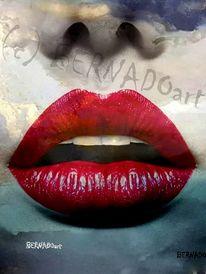 Gesicht, Ausstellung, Rotelippen, Rot