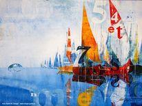 Schiff, Segelboot, Typoart, See