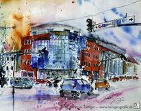 Verkehr, Aquarellmalerei, Architektur, Gemälde