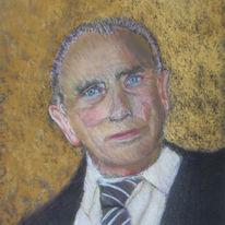 Pastellmalerei, Schlips, Portrait, Alter mann