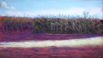 Frühlingsanfang, Pastellmalerei, Baum, Landschaft