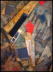Collage, Mischtechnik, Griff,