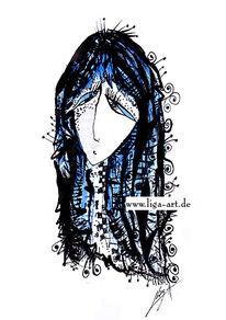 Frau, Zeichnung, Tusche, Dame