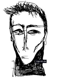 Schwarz, Tuschmalerei, Tinte, Portrait