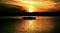 Ufer, Horizont, Licht, Boot