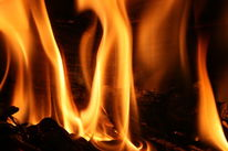 Flammen, Holz, Glut, Ofen