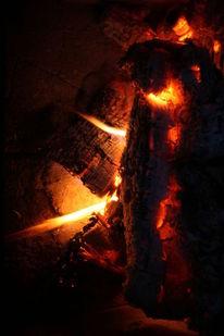 Glut, Hitze, Flammen, Holz